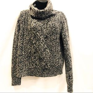 Cable knit  sweater cowl wool mohair blend crop s